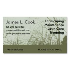 Green Landscaping Lawn Care Mowing Business Card Template. This great business card design is available for customization. All text style, colors, sizes can be modified to fit your needs. Just click the image to learn more!