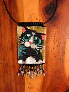 basket weave loom style beaded Kitty Kat