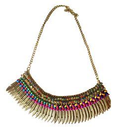 Gold Fringe Necklace,Crystal Bib Necklace,Bohemian Statement Jewelry,silk thread weave,Summer Necklace by Taneesi by taneesijewelry on Etsy