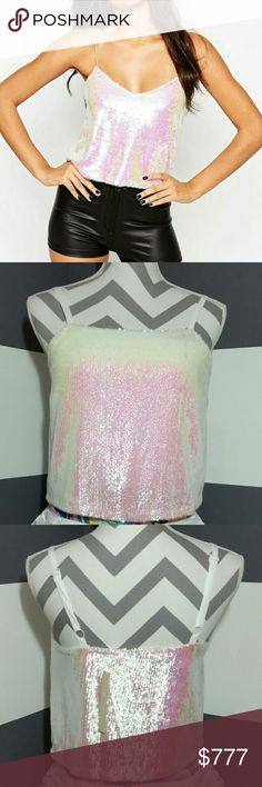 """LAST 1! PEARLIZED SEQUIN TOP NWT Brand new with tags  Get your sparkle on with this white mini sequin top. Dress up with a skirt or pair it with jean shorts to maker it a little casual.  Adjustable straps Size small White lining 100%polyester Length approx 18"""" but it will vary depending on were you adjust the straps. Curved down a little in front  Pic 1 style example. Pics 2,3 actaul top  *Party vegas date night special occasion wedding sparkle club holiday NEW years holiday Christmas…"""