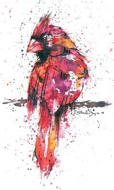 Vibrant Cardinal Watercolor Print by watercolorsbypamela on Etsy, $25.00