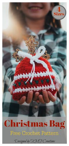 4 Sizes Christmas Gift Bag Set Free Crochet Pattern Instead of buying a boring paper gift bag, you can crochet the Christmas Gift Sack Bag. The Christmas Gift Sack Bag Free Crochet Pattern is quick and easy to work up. Free Christmas Gifts, Crochet Christmas Gifts, Holiday Crochet, Crochet Gifts, Diy Christmas, Christmas Decorations, Crochet Ornaments, Christmas Quotes, Christmas Ornaments