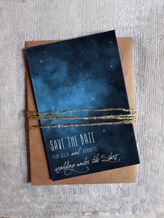 Save the Date Under the stars Outdoor Wedding Navy & by HooplaLove, $50.00. Navy envelopes instead.