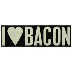 "Primatives By Kathy- ""I Heart Bacon"" Box Sign by Primatives by Kathy. Wonderful gift item. Free stands on tabletop or hangs on wall for display. Pirmatives by Kathy. Painted wood. Approximately: 1.9 ft(H) x 6.5 in(L) x 1.8 in(W). Primatives By Kathy- ""I Heart Bacon"" Box Sign"