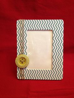Chevron Button Burlap Picture Frame - Shop on Etsy - CraftsbyJK to purchase and view more!!
