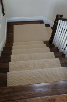 Installed for a client in Newport Beach, CA. This is Karastan Cobble Ridge that was cut on site and then serged at our workroom. The install is made complete with a set of classic stair rods.  Hemphill's Rugs & Carpets Orange County, CA www.RugsAndCarpets.com #karastan #runner #stairs #newportbeach