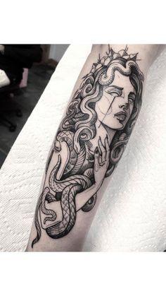 Mar 2020 - Lana Del Rey as Medusa - by Martin Kelly in Body Electric, LA - tattoos Dope Tattoos, Badass Tattoos, Leg Tattoos, Body Art Tattoos, Small Tattoos, Girl Neck Tattoos, Forearm Sleeve Tattoos, Arabic Tattoos, Tribal Sleeve Tattoos