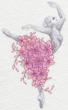 Ballerina with Flowers design (L5221) from www.Emblibrary.com