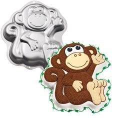 "Monkey Cake Pan Includes 1 9 1/2"" x 10"" metal cake pan. Weight (lbs) 0.4 Length (inches) 12.75 Width (inches) 11.5 Height(inches) 2"