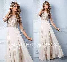 Distinctive Girl A-line Empire Waist Luxury Crystal Plus Size Chiffon Long New Arrival 2014 Woman Prom Dresses with Sleeves: