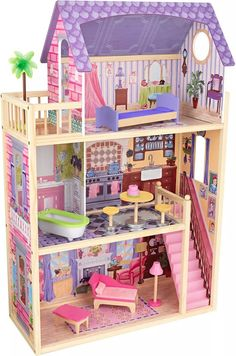 KidKraft Kayla Dollhouse + 10 Pieces of Furniture Mini Doll House, Toy House, Barbie Doll House, Barbie Furniture, Dollhouse Furniture, Cardboard Toys, Dollhouse Kits, Lol Dolls, Diy Wood Projects
