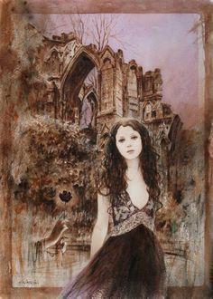 Ophelia - watercolor by Gilles Grimoin,  a painter based in France. http://gillesgrimoin.deviantart.com