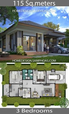 115 Sqm 3 Bedrooms Home design idea – Home Ideas – House Design Single Floor House Design, Modern Small House Design, Small House Interior Design, Home Design Floor Plans, Simple House Design, Minimalist House Design, Model House Plan, My House Plans, House Layout Plans