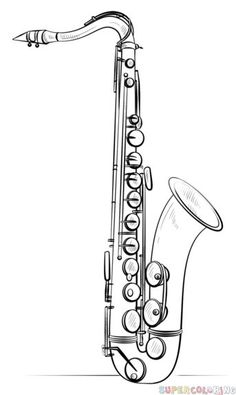Pencil Drawing Tutorials How to draw Saxophone step by step. Drawing tutorials for kids and beginners. Drawing Tutorials For Kids, Pencil Drawing Tutorials, Pencil Drawings, Eye Drawings, Drawing Tips, Drawing Ideas, Musical Instruments Drawing, Arte Banksy, Painting & Drawing