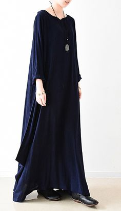2017 New spring navy cotton dresses long cotton maxi dress floor length caftans