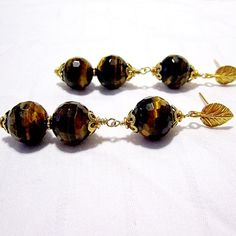 Tigers Eye Earrings Tigers Eye Jewelry Natural Gemstone Jewelry Gift Under 20 Brown Earrings Leaf