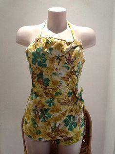 VTG 1930s/40s Yellow Prnt/Batik Cotton Ruched/Smocking Swimming Costume UK 8/10