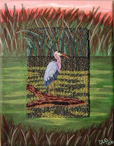 GREAT BLUE HERON Beaded Painting on canvas mixed media 8x10 nature gift