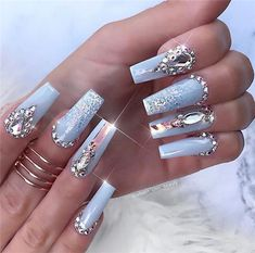 55 Trending Blue Coffin Nails Designs For You In 2019 Spring And Summer - Nail Art Connect Bling Nails, Stiletto Nails, My Nails, Gorgeous Nails, Pretty Nails, Baby Blue Nails, Blue Coffin Nails, Acryl Nails, Nails Design With Rhinestones