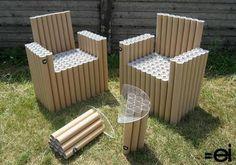 reciclar tubos de cartón como muebles para jardín                                                                                                                                                                                 Más