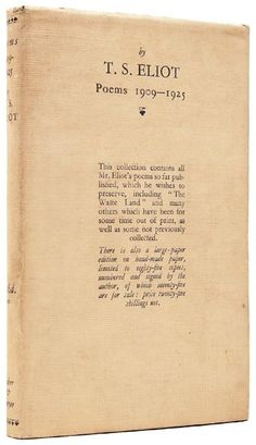 1st edition. poems from t.s. eliot --- between 1909-1925