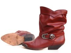 Womens red boots western cowgirl slouchy midcalf by joyridevintage, $54.00