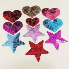 sequins heart motif iron/sew on embroidered patch Cloth badge applique diy MDAU