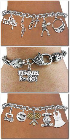 Tennis Five Charm bracelet - Silver Chain Bracelet W Silver Charms Personalize W Initials