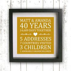 Printable Anniversary Print - 50th Anniversary  - Custom Family Established Sign - Gold Heart