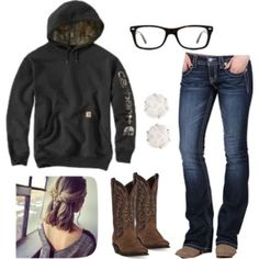 """Look """"Tomorrow is the last day of school"""" by johndeerebabe on Polyvor Camo Outfits, Cowgirl Outfits, Western Outfits, Western Wear, Fashion Outfits, Trendy Outfits, Cowgirl Clothing, Cowgirl Fashion, Cowgirl Jewelry"""