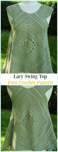 Crochet Lacy Swing Top Free Pattern -#Crochet Summer #Top Free Patterns
