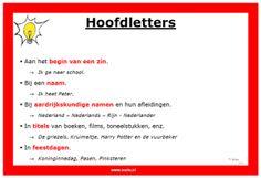poster over Hoofdlettergebruik Learn Dutch, Classroom Organisation, Kids Class, Creative Teaching, Grammar, Back To School, Homeschool, Language, Teacher