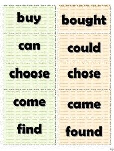 free to print cut-up cards with irregular verbs: use to support any relevant activity