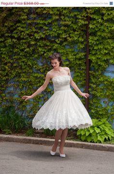 40% OFF - 50s Short Wedding Dress - Vintage 1950s Wedding Dress - Something Blue Wedding Dress