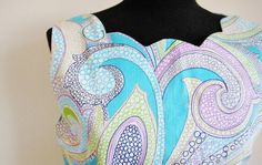 Vintage 60's Turquoise Psychedelic Cotton by perniejaynevintage, $48.00