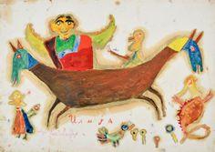 """Ilija (Bosilj) Bašičević. My Portrait from Ilijada. 1966. Gouache and oil on cardboard. Signed """"Ilija,"""" lower center, and dated, lower left. 13 3/4"""" x 19 5/8"""" (35 x 50 cm). From the series """"Ilijada,"""" no. I-153. """"My Father Ilijada,"""" no. 897."""