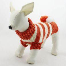 Sveter pre psov - pletený oranžovobiely, L