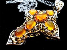 Vintage Amber Cross Necklace Sterling Silver Large Open Work Pendant Genuine | eBay