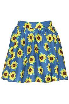 ROMWE | ROMWE Sunflower Print High Waist Blue Skirt, The Latest Street Fashion