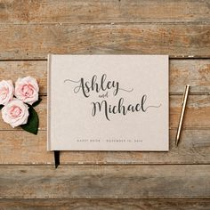 Wedding Guest Book horizontal landscape guestbook sign in book photo booth hardcover personalized names wedding planner book rustic kraft Wedding Planner Book, Wedding Planners, Wedding Booklet, Rustic White, Rustic Wood, Photo Book, Photo Guest Book, Printing And Binding, Vow Book