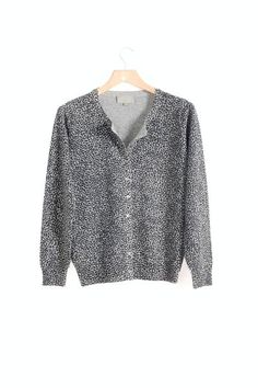 Misty Cashmere animal print cashmere cardigan in Sussex garden ...