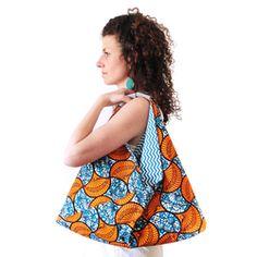 SAC ORIGAMI / Wax bleu canard & orange Wax, Crochet, Collection, Decor, Aprons, African, Dressmaking, Japanese Origami, Tradigital Art