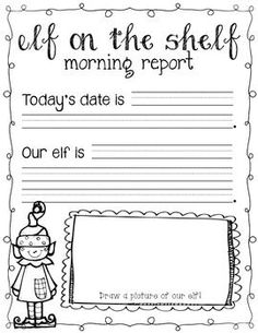 FREE Elf on the Shelf morning work page! Just slip in a protective cover and use each day with dry erase markers!:)