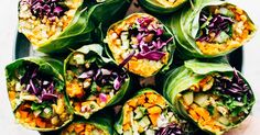 Make these quick and easy vegetable rice paper rolls with spicy-sweet peanut sauce. See step by step on how to make these in advance. Vegetarian Spring Rolls, Vegetarian Recipes, Vegetarian Appetizers, Thai Recipes, Veggie Rolls, Rainbow Roll, Whole Food Recipes, Cooking Recipes, Rice Paper Rolls