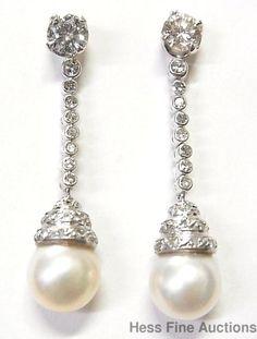 Apprx 2ctw Large Diamond 9.5mm Cult Pearl Vintage 1940s 14k Gold Dangle Earrings #DropDanglejacketswStuds