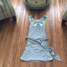 Forever 21 Gray Tie Dress With Patchwork Neckline