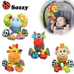 Baby Toy Soft Plush Elephant lion Monkey giraffe Crib Bed Hanging Animal Teether Baby Rattle Ring Bell Early Educational Doll