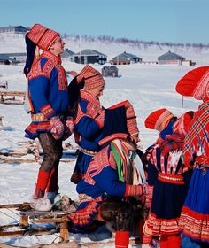 Sami in traditional finery for the Easter Reindeer races. Kautokeino. N.Norway