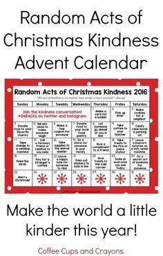 2016 Random Acts of Christmas Kindness printable printable advent calendar. Download and make the world a little kinder this holiday season.