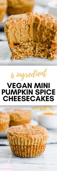Vegan mini pumpkin spice cheesecakes are super rich and creamy, full of pumpkin spice flavor, and made with just 6 healthy ingredients, no baking necessary. #veganminicheesecakes #vegancheesecake #veganpumpkinspicecheesecake #veganminipumpkinspicecheesecakes #vegandessert #pumpkinspice #healthydessert #healthycheesecake #healthyvegandessert